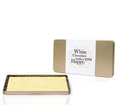 Luxury chocolate steelbox bar white